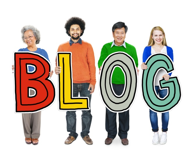 Group of Diverse People Holding the word Blog